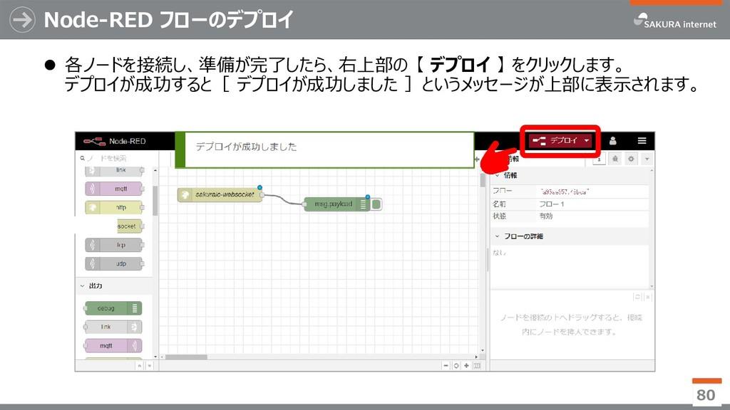 Node-RED フローのデプロイ ⚫ 各ノードを接続し、準備が完了したら、右上部の 【 デプ...