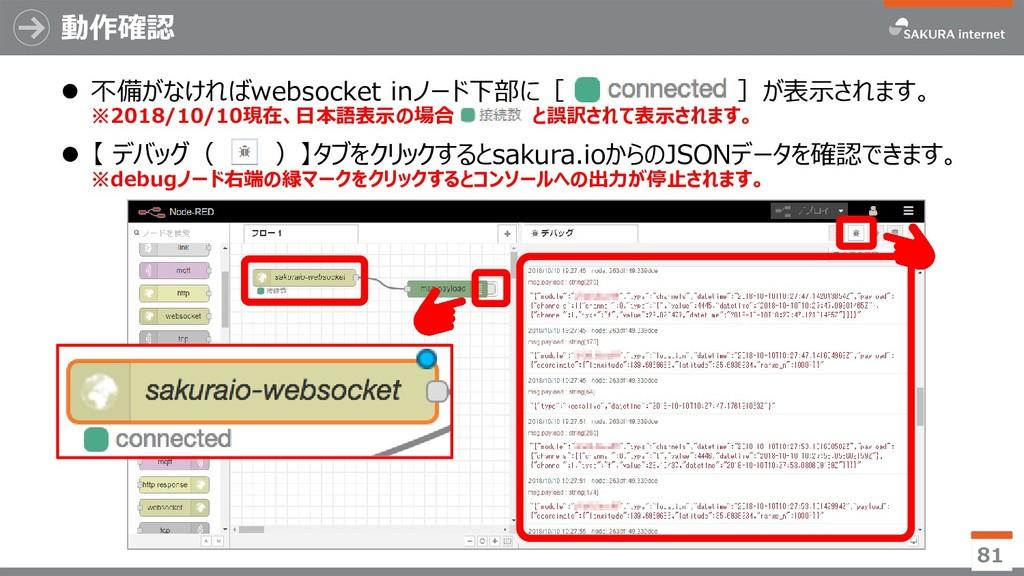 動作確認 ⚫ 不備がなければwebsocket inノード下部に[ ]が表示されます。 ※20...