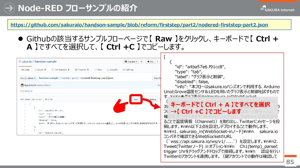 Node-RED フローサンプルの紹介 ⚫ Githubの該当するサンプルフローページで【 R...