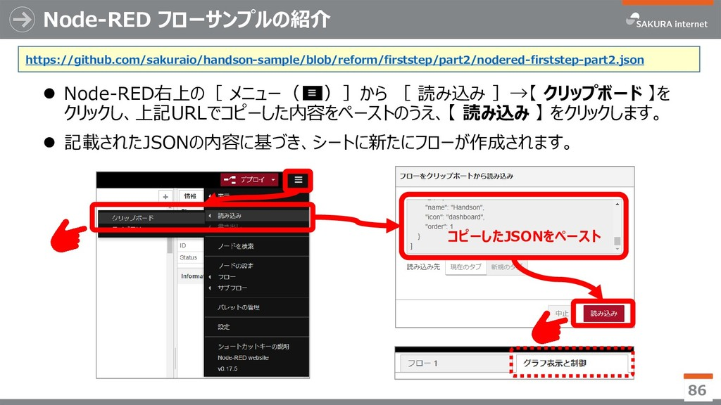 Node-RED フローサンプルの紹介 ⚫ Node-RED右上の[ メニュー( )]から [...