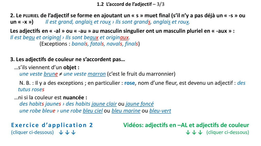 1.2 L'accord de l'adjectif – 3/3 2. Le PLURIEL ...