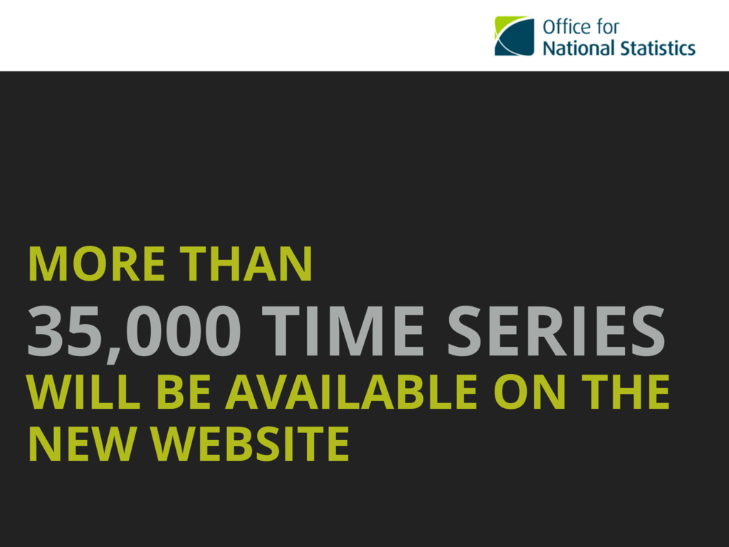 MORE THAN 35,000 TIME SERIES WILL BE AVAILABLE ...