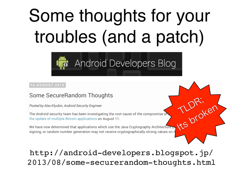 Some thoughts for your troubles (and a patch) h...