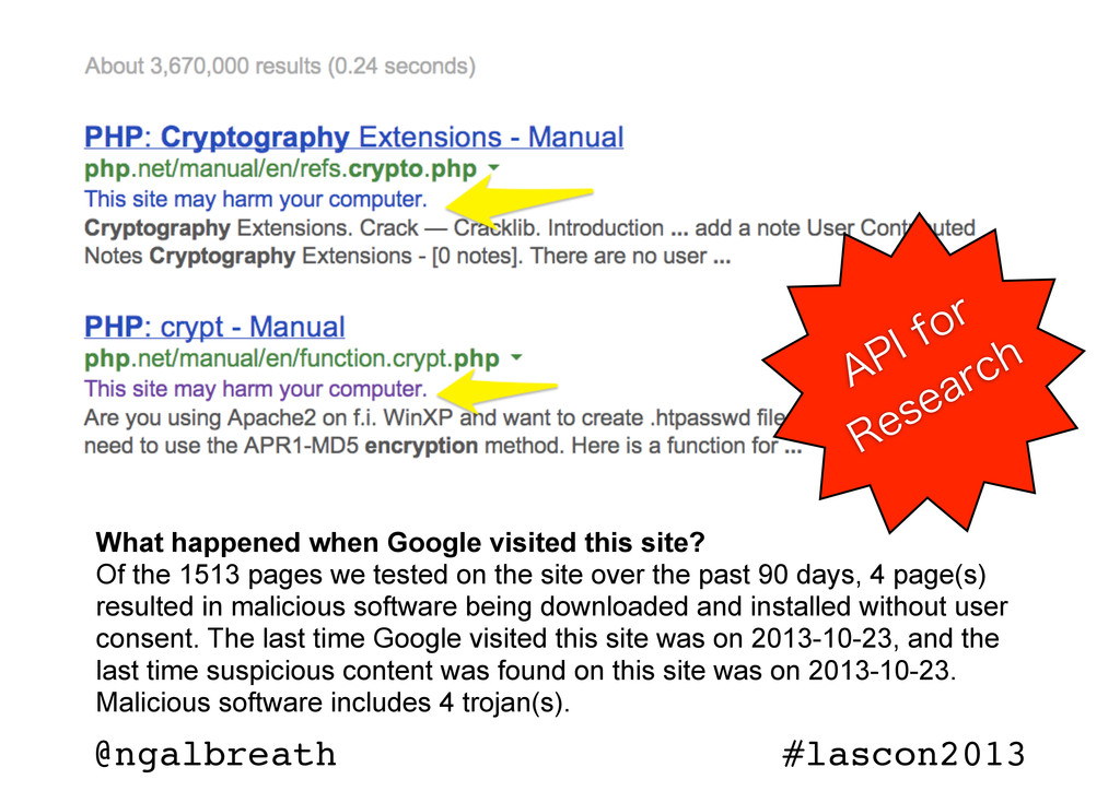 @ngalbreath #lascon2013 What happened when Goog...