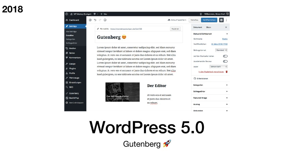 WordPress 5.0 Gutenberg  2018