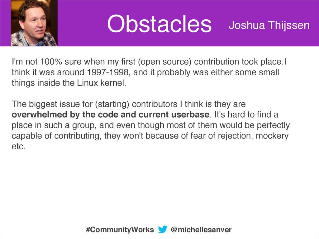 Obstacles Joshua Thijssen I'm not 100% sure whe...