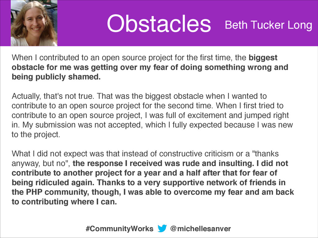 Obstacles Beth Tucker Long When I contributed t...