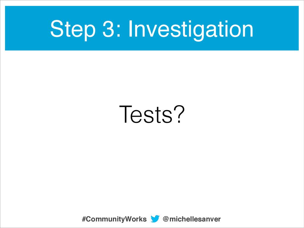 Tests? Step 3: Investigation @michellesanver #C...