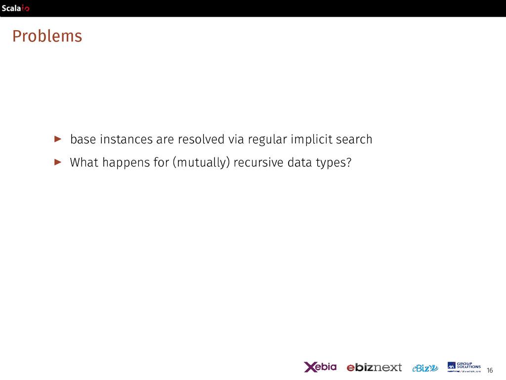 Problems ▶ base instances are resolved via regu...