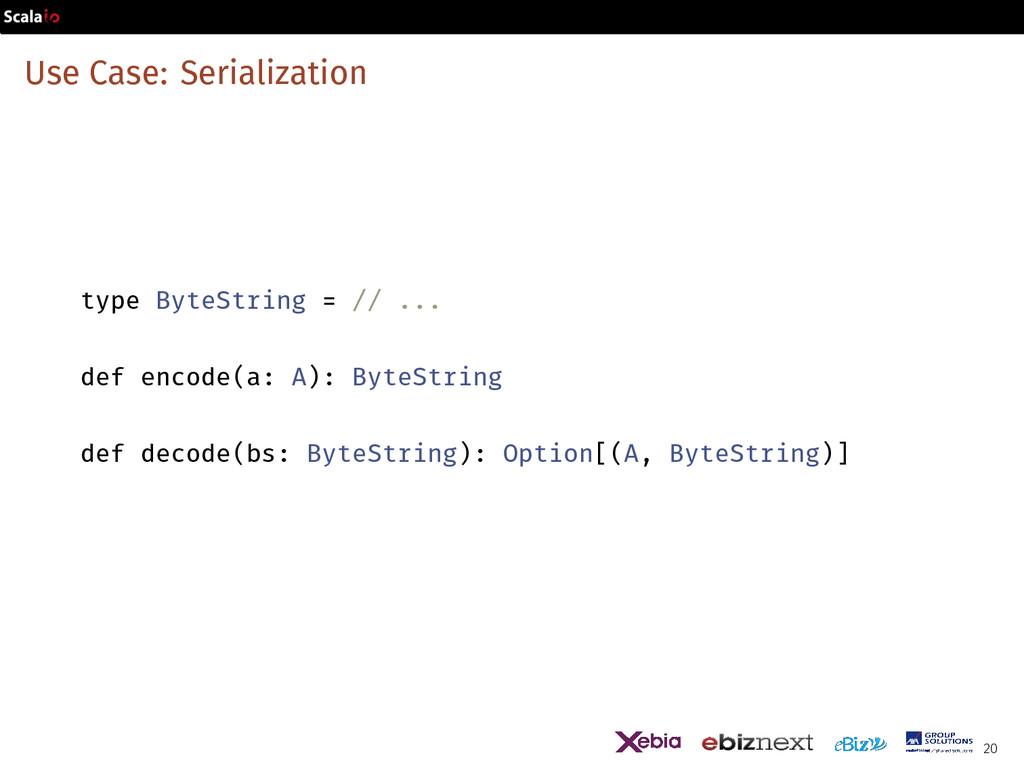 Use Case: Serialization type ByteString = // .....