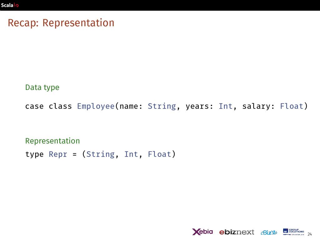 Recap: Representation Data type case class Empl...