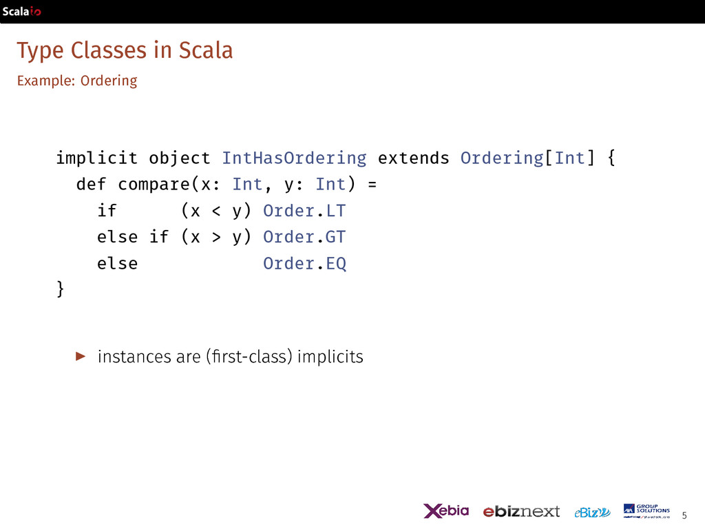 Type Classes in Scala Example: Ordering implici...