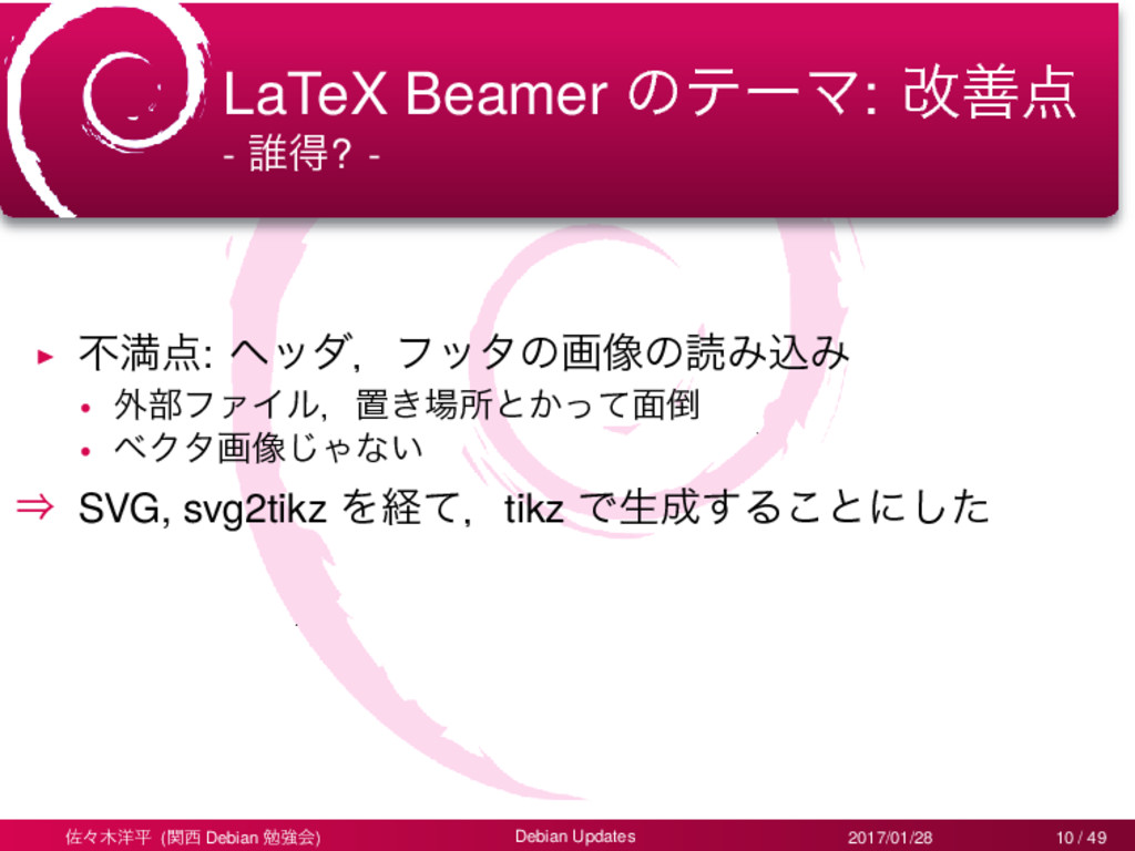 LaTeX Beamer ͷςʔϚ: վળ - ୭ಘ? - ▶ ෆຬ: ϔομɼϑολͷը...
