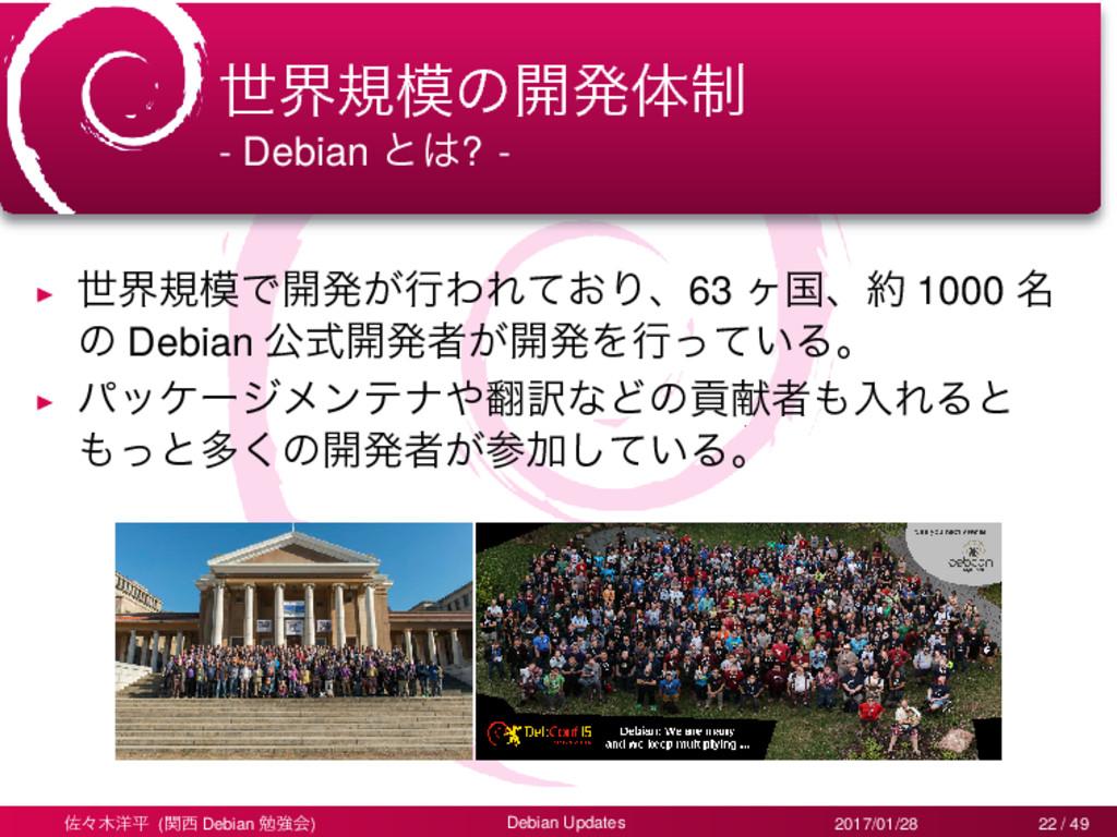 ੈքنͷ։ൃମ੍ - Debian ͱ? - ▶ ੈքنͰ։ൃ͕ߦΘΕ͓ͯΓɺ63 ϲࠃ...