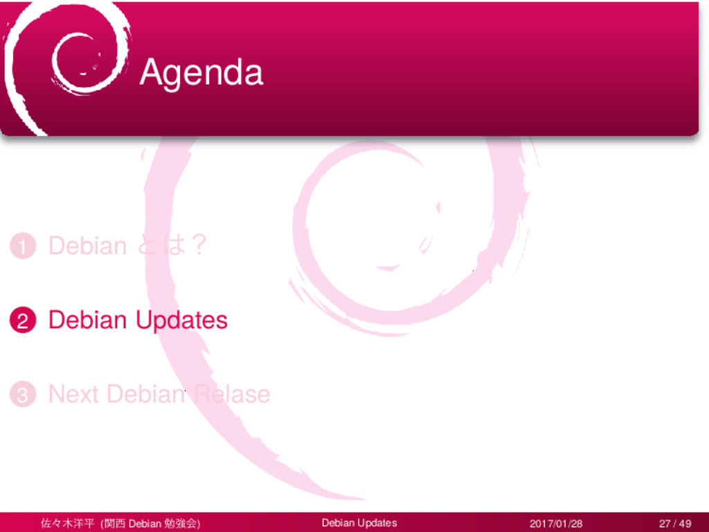 Agenda 1 Debian ͱ͸ʁ 2 Debian Updates 3 Next Deb...