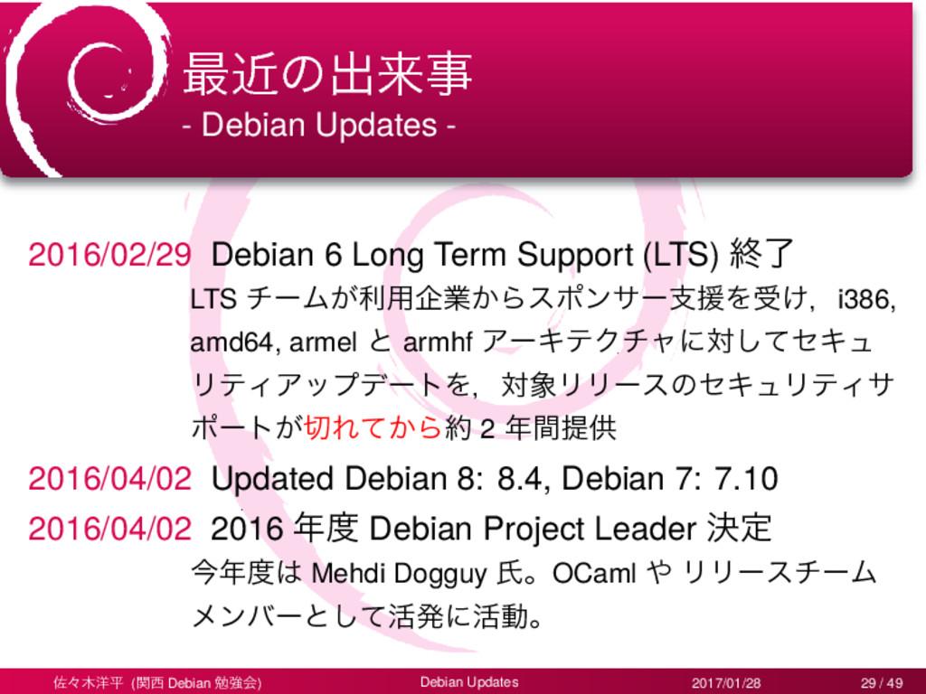 ࠷ۙͷग़དྷ - Debian Updates - 2016/02/29 Debian 6 L...