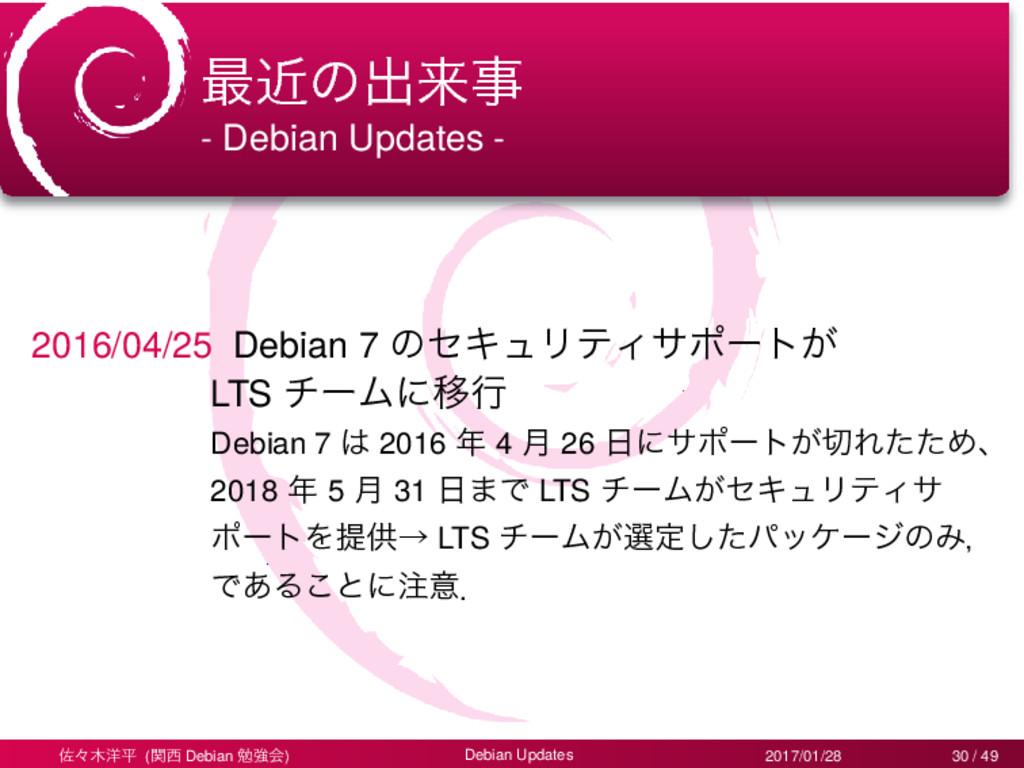 ࠷ۙͷग़དྷ - Debian Updates - 2016/04/25 Debian 7 ͷ...