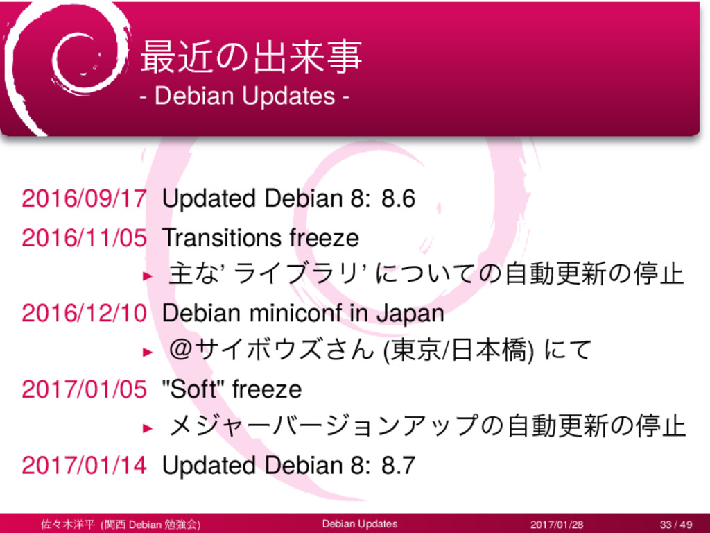 ࠷ۙͷग़དྷࣄ - Debian Updates - 2016/09/17 Updated De...