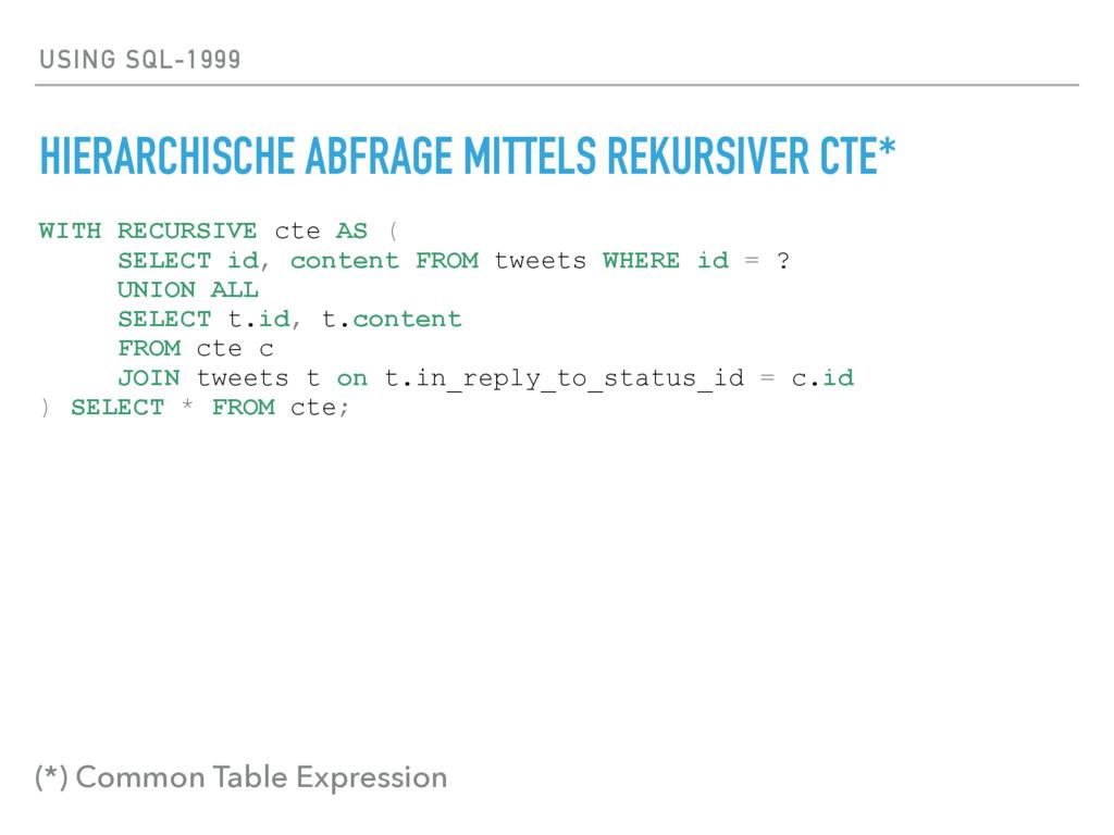USING SQL-1999 HIERARCHISCHE ABFRAGE MITTELS RE...