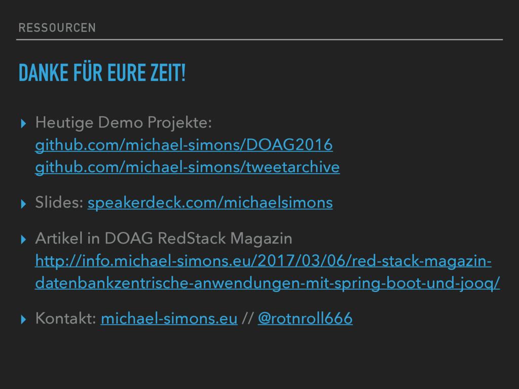 RESSOURCEN DANKE FÜR EURE ZEIT! ▸ Heutige Demo ...