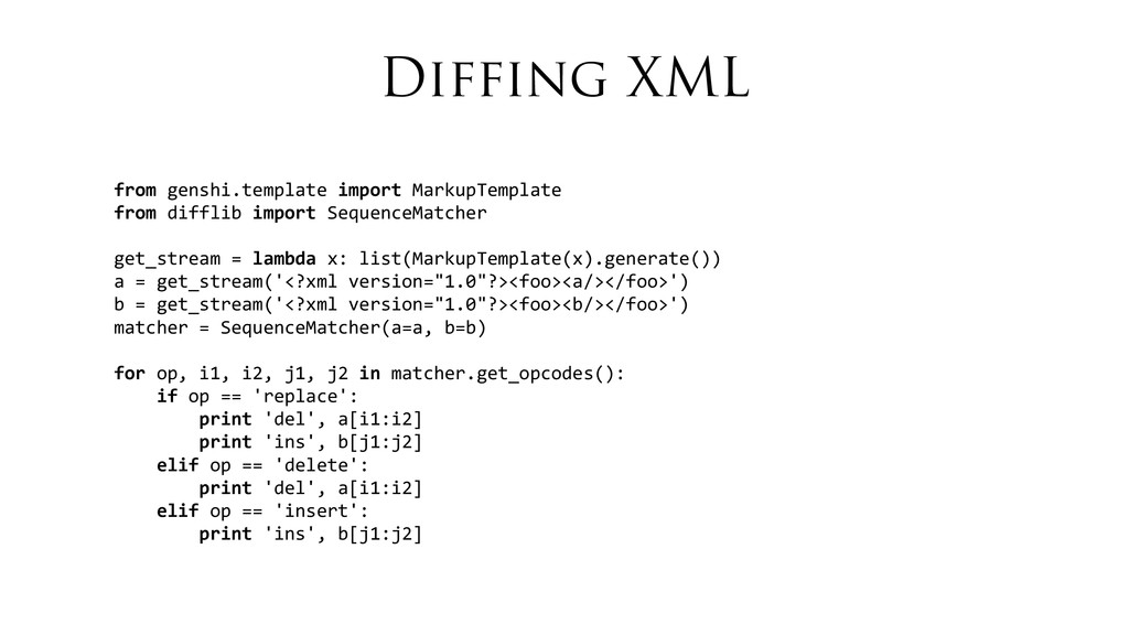 Diffing XML from	