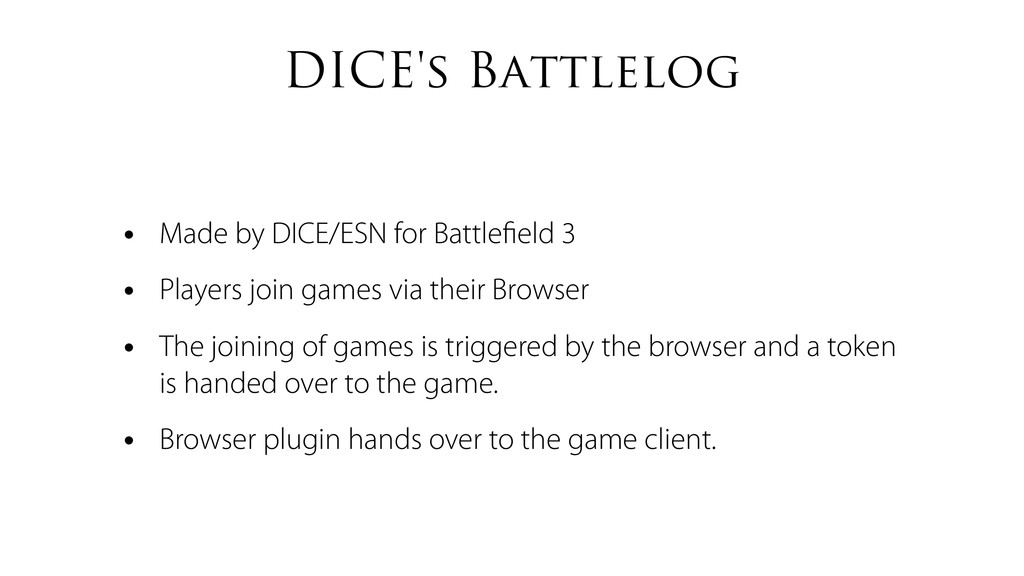 DICE's Battlelog • Made by DICE/ESN for Battlefi...