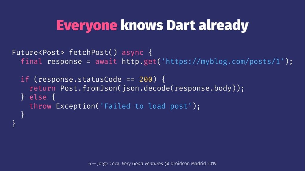 Everyone knows Dart already Future<Post> fetchP...