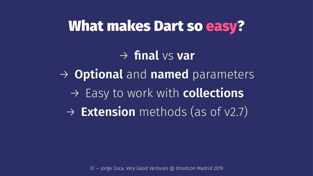 What makes Dart so easy? → final vs var → Option...