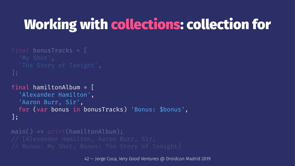 Working with collections: collection for final ...