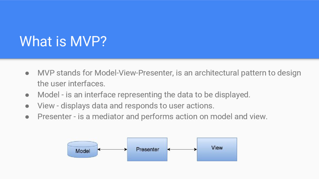 What is MVP? ● MVP stands for Model-View-Presen...