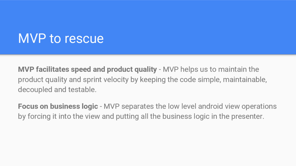 MVP to rescue MVP facilitates speed and product...