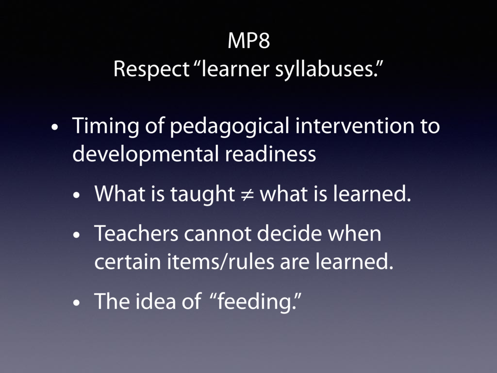 """MP8 Respect """"learner syllabuses."""" • Timing of p..."""