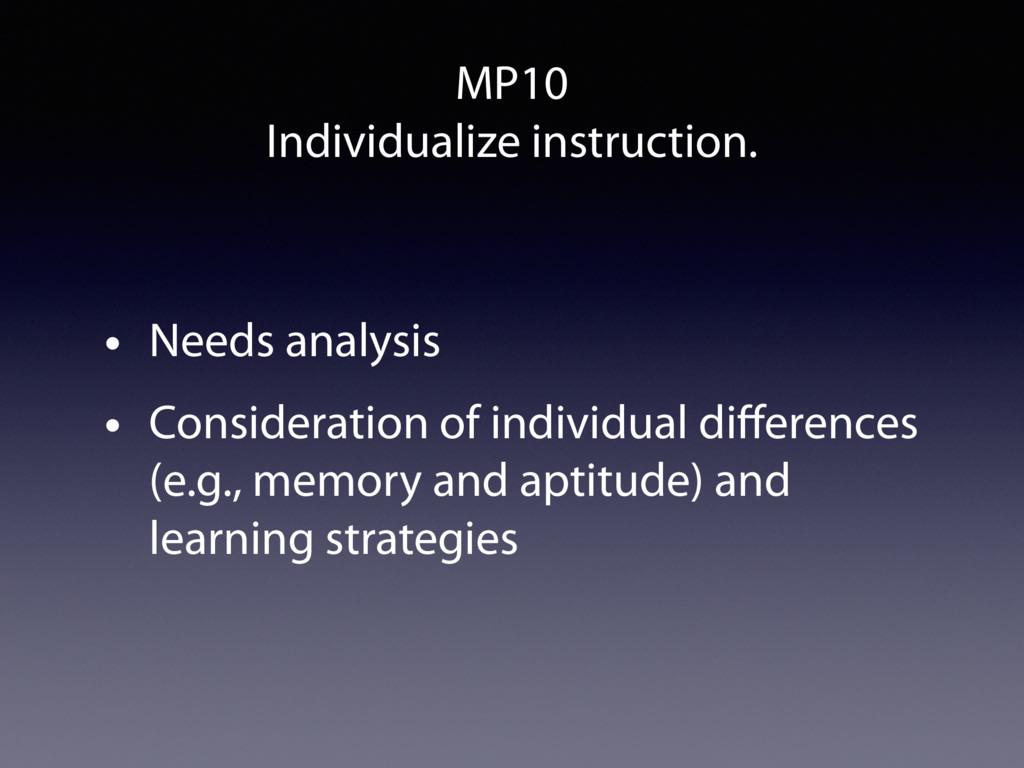 MP10 Individualize instruction. • Needs analysi...