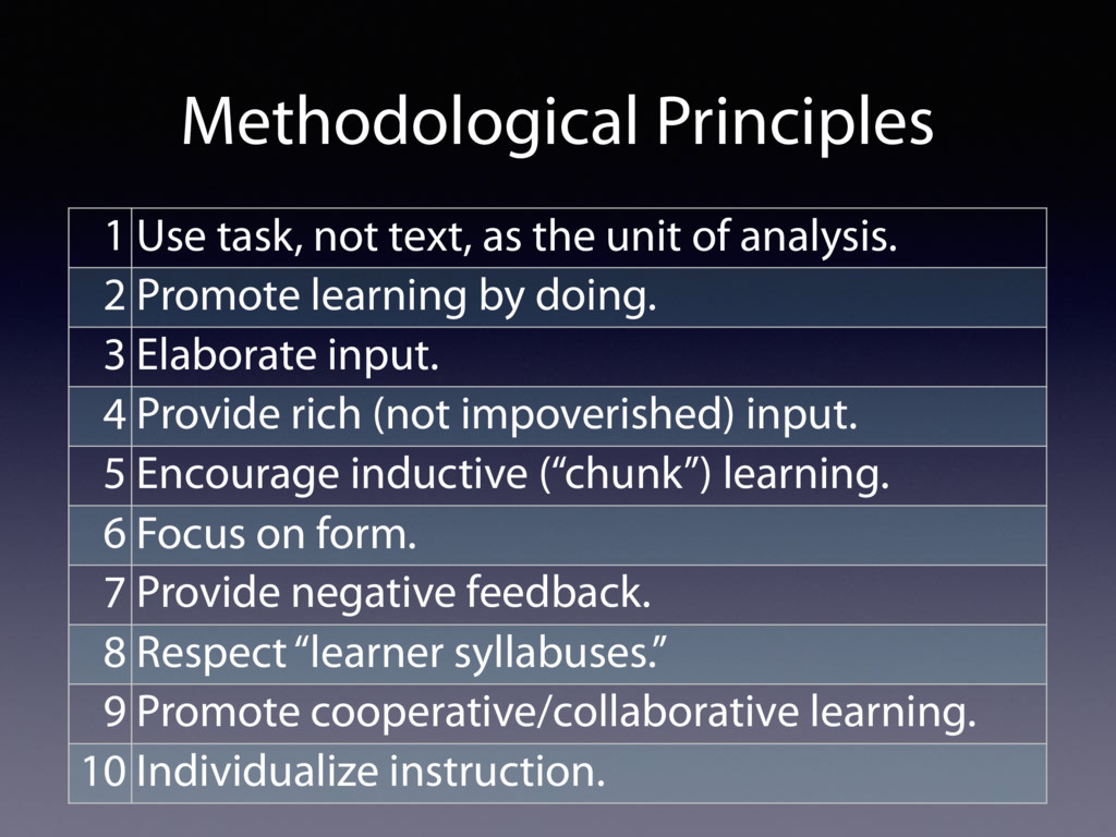 Methodological Principles 1 Use task, not text,...