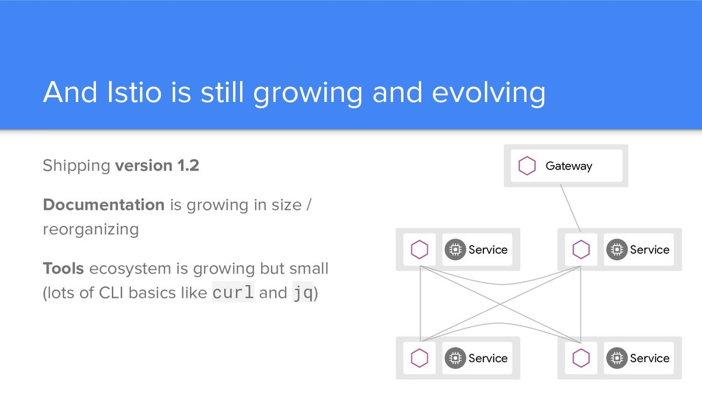 And Istio is still growing and evolving Shippin...