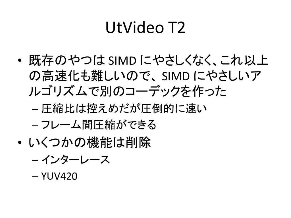 UtVideo T2 • 既存のやつは SIMD にやさしくなく、これ以上 の高速化も難しいの...