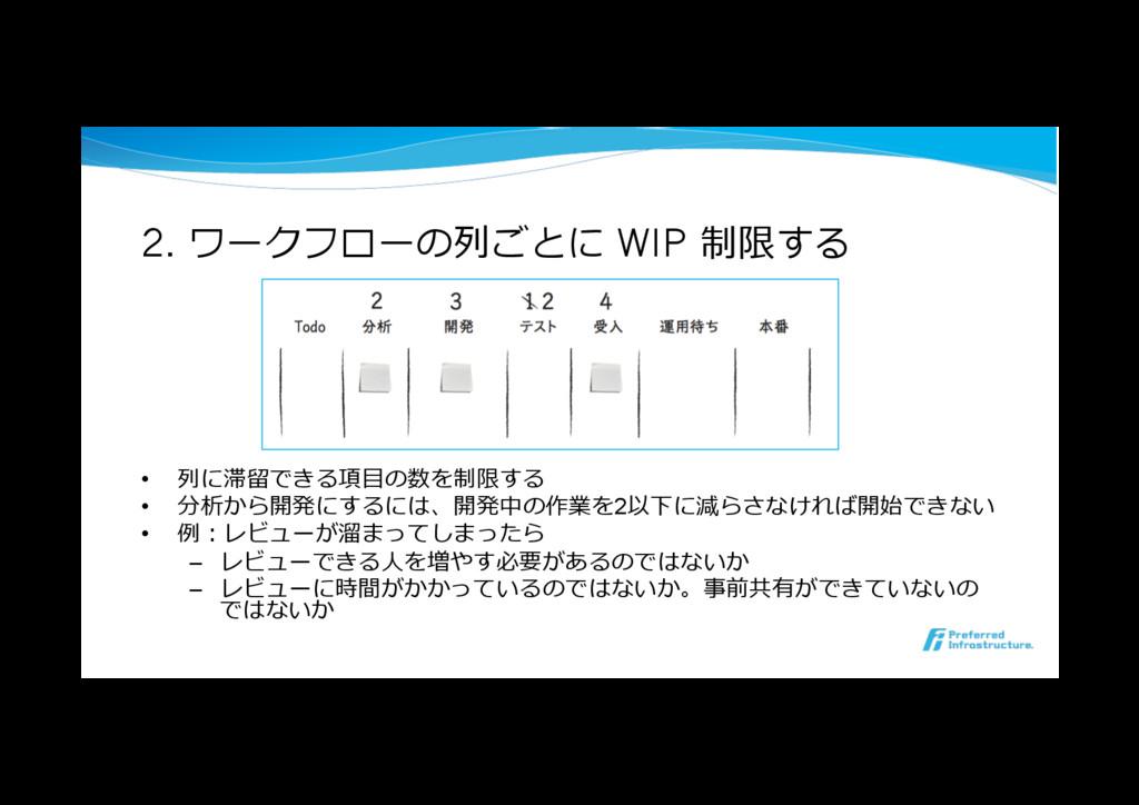 2. ワークフローの列ごとに WIP 制限する • 列に滞留できる項⽬の数を制限する • ...