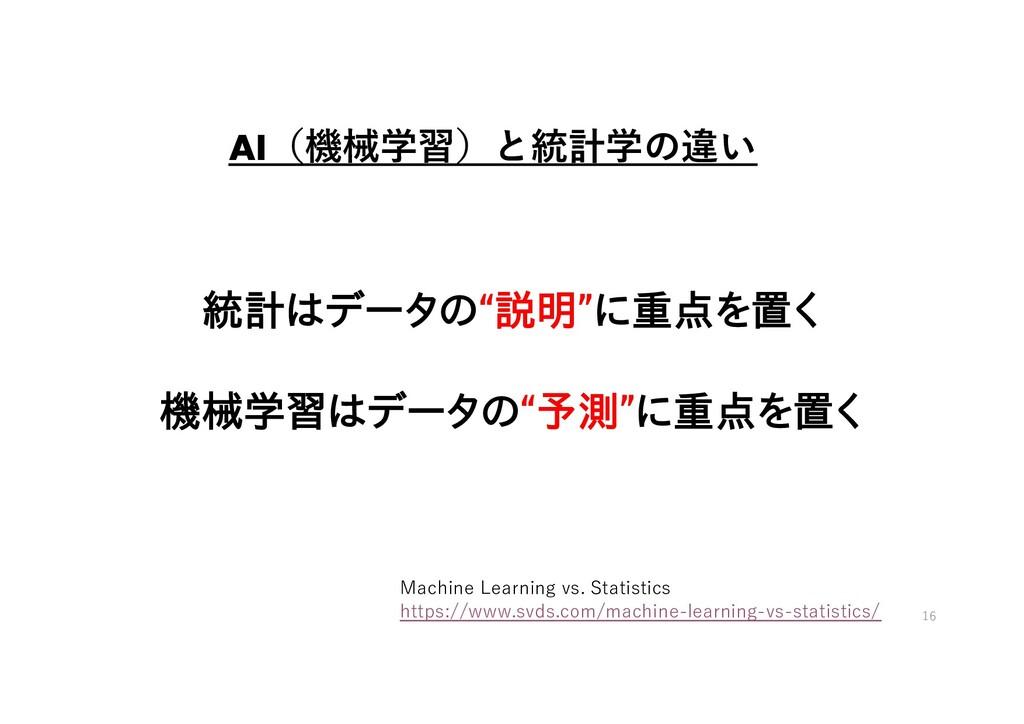 "AI(機械学習)と統計学の違い 統計はデータの""説明""に重点を置く 機械学習はデータの""予測""..."