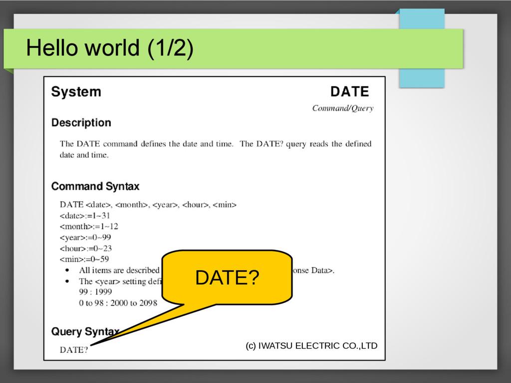 Hello world (1/2) (c) IWATSU ELECTRIC CO.,LTD D...
