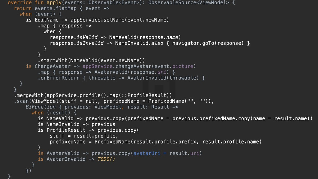 override fun apply(events: Observable<Event>): ...
