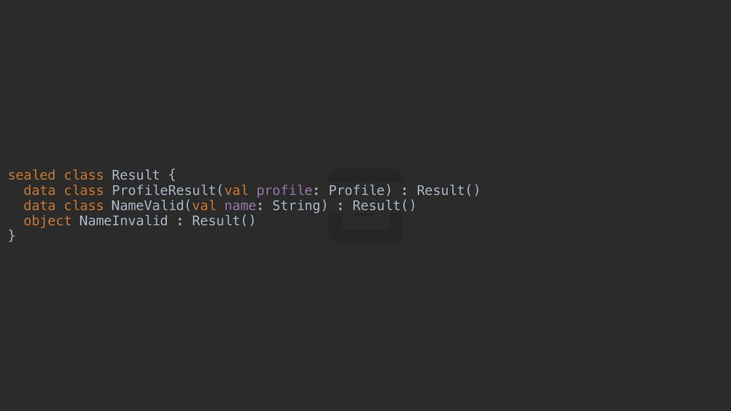 sealed class Result { data class ProfileResult(...