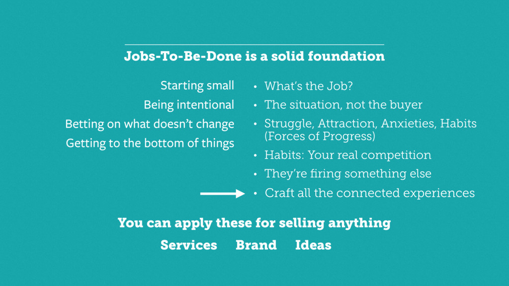 Jobs-To-Be-Done is a solid foundation Starting ...