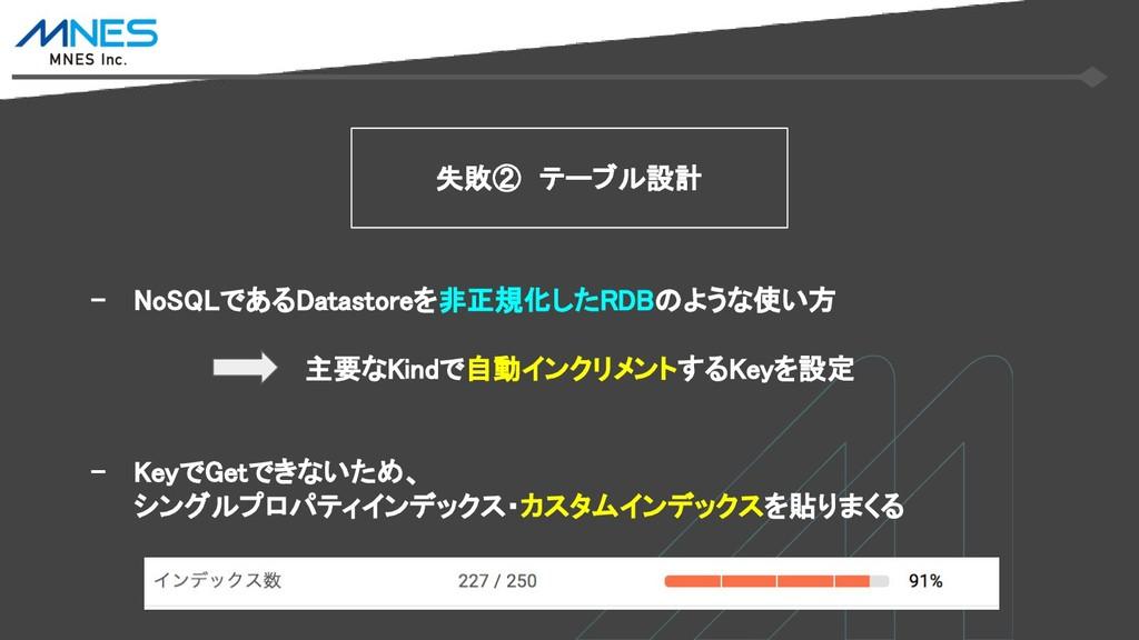 - NoSQLであるDatastoreを非正規化したRDBのような使い方 主要なKindで自動...