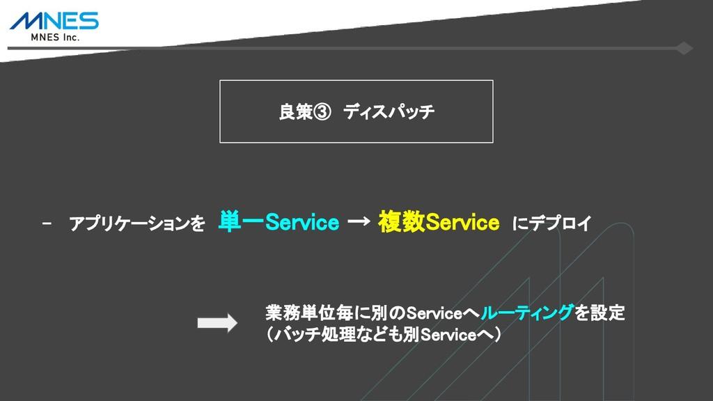 - アプリケーションを 単一Service → 複数Service にデプロイ 良策③ ディス...