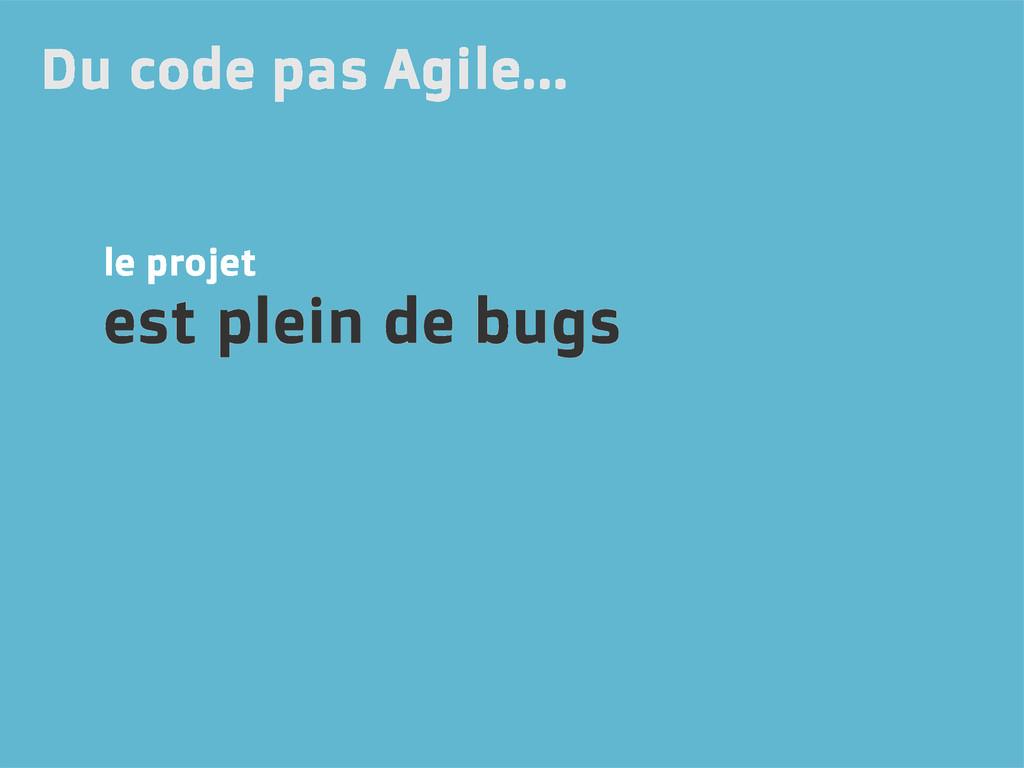 le projet est plein de bugs Du code pas Agile...