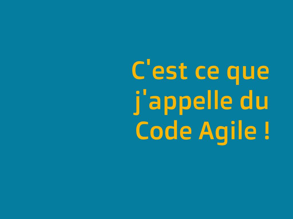 C'est ce que j'appelle du Code Agile !