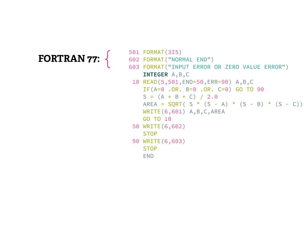 """FORTRAN 77: 501 FORMAT(3I5) 602 FORMAT(""""NORMAL..."""