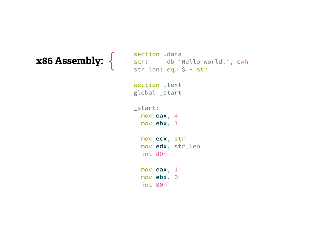 x86 Assembly: section .data str: db 'Hello wor...