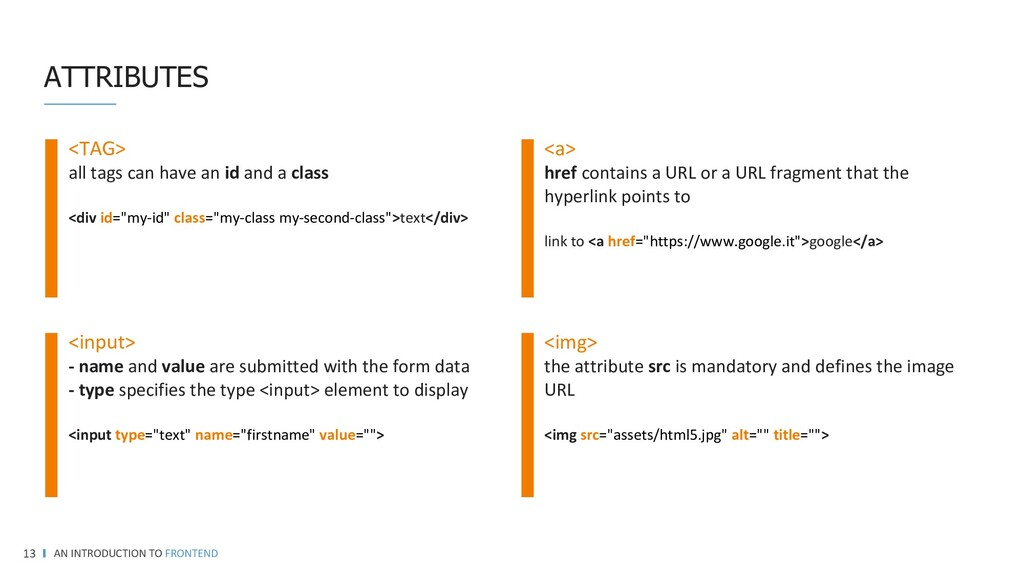 ATTRIBUTES AN INTRODUCTION TO FRONTEND 13 <a> h...