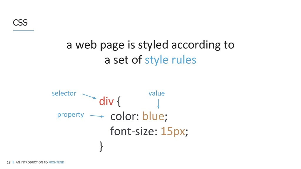 CSS AN INTRODUCTION TO FRONTEND 18 A web page i...
